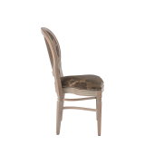Chandelle Chair in Ivory with Damask Taupe Seat Pad