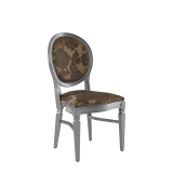 Chandelle Chair in Silver with Damask Taupe Seat Pad