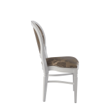 Chandelle Chair in White with Damask Taupe Seat Pad