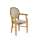 Chandelle Armchair in Gold with Damask Vanilla Seat Pad