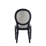Chandelle Chair in Black with Damask Vanilla Seat Pad