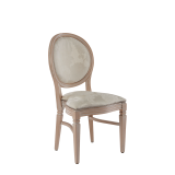 Chandelle Chair in Ivory with Damask Vanilla Seat Pad