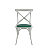 Coco Chair in White with Emerald Seat Pad