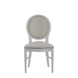 Chandelle Chair in White with Anastasia Collection Seat Pad Cold