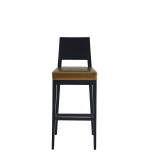 Porcino Bar Stool in Black with Gold Seat Pad