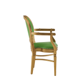 Chandelle Armchair in Gold with Green Seat Pad