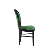Chandelle Chair in Black with Green Seat Pad