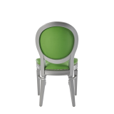 Chandelle Chair in Silver with Green Seat Pad