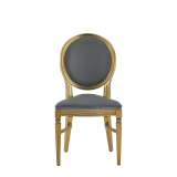 Chandelle Chair in Gold with Grey Seat Pad