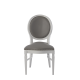 Chandelle Chair in White with Grey Seat Pad