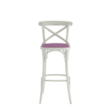 Coco Bar Stool in White with Icy Pink Seat Pad