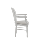 Chandelle Armchair in White with Ivory Seat Pad