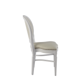 Chandelle Chair in White with Ivory Seat Pad