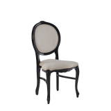 Louise Chair in Black with Ivory Seat Pad
