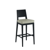 Porcino Bar Stool in Black with Ivory Seat Pad