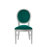 Chandelle Chair in White with Jade Velvet Seat Pad