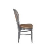 Chandelle Chair in Silver with Latte Seat Pad