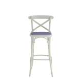 Coco Bar Stool in White with Lavender Seat Pad