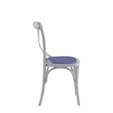 Coco Chair in White with Lavender Seat Pad
