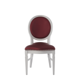 Chandelle Chair in White with Merlot Seat Pad