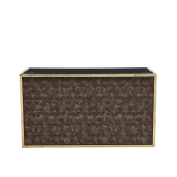 Unico DJ Booth - Gold Frame - Taupe Snake Skin Upholstered Panels