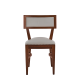 The Bogart Chair in Antique Wood with White Seat Pad
