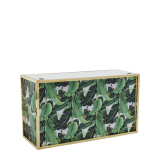 Unico DJ Booth with Gold Frame and Palm Leaf Print Panels