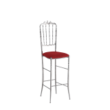 Napoleon Bar Stool in Chrome with Red Seat Pad