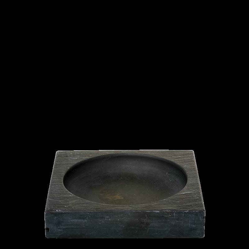 Slate square ashtray black 9 x 9 cm
