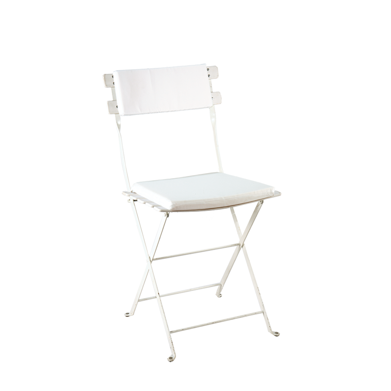 Trocadero White Chair with White Seat Pad and Back