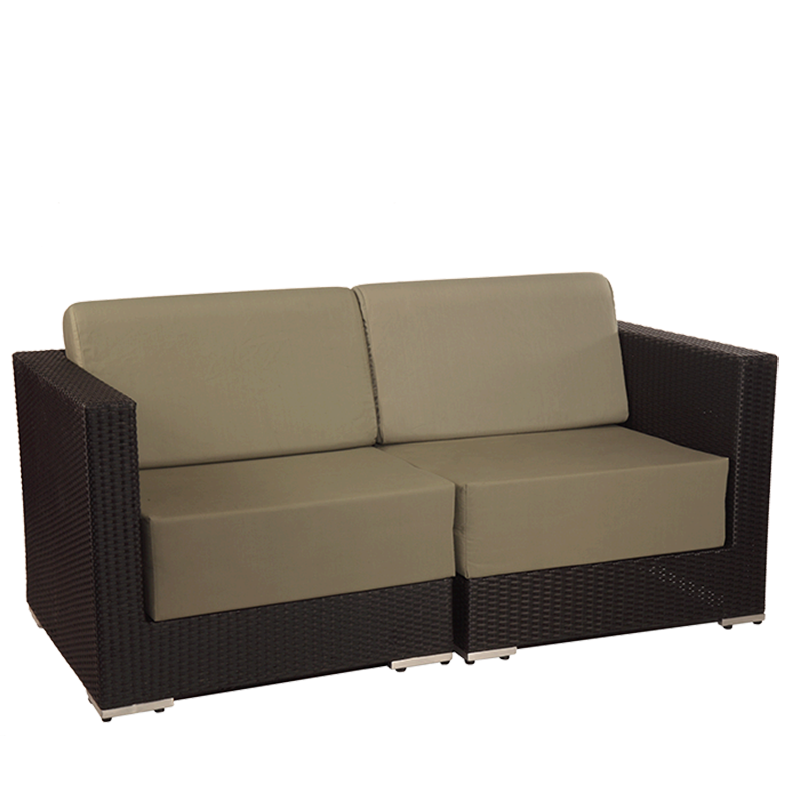 "Taupe Woven Lounge Two Seater Sofa L 62.99"" - W 31.49"" - H 26.37"""