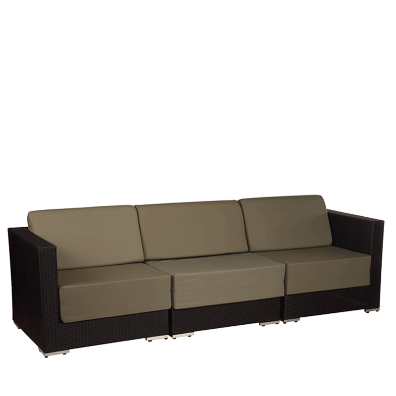 "Taupe Woven Lounge Three Seater Sofa L94.48"" W31.49"" H26.37"""