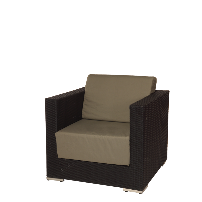 "Taupe Woven Lounge Armchair L 31.49"" - W 31.49"" - H 26.37"""