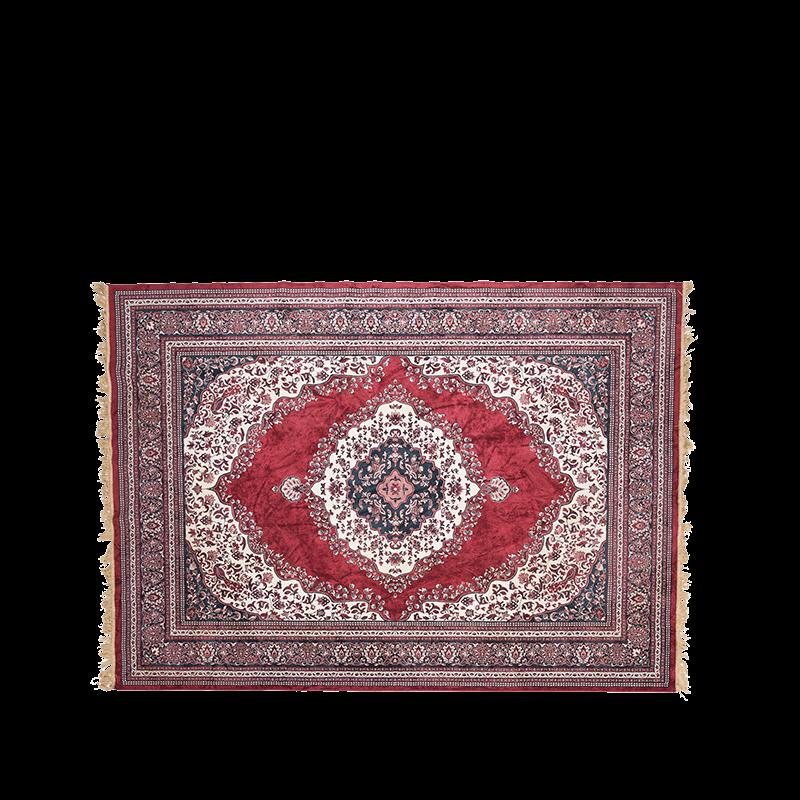 Vintage carpet, dominant colour red