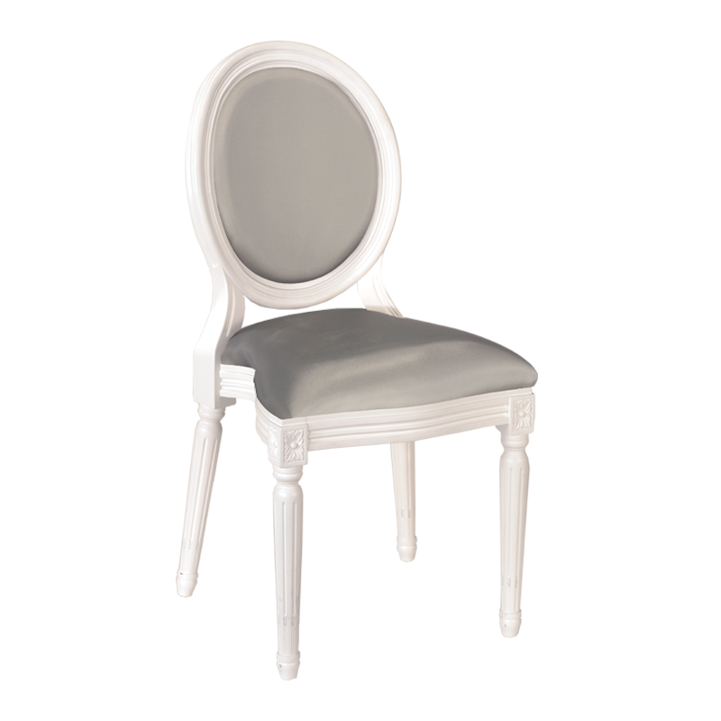 Montaigne Chair in White with Pearl Grey Seat Pad