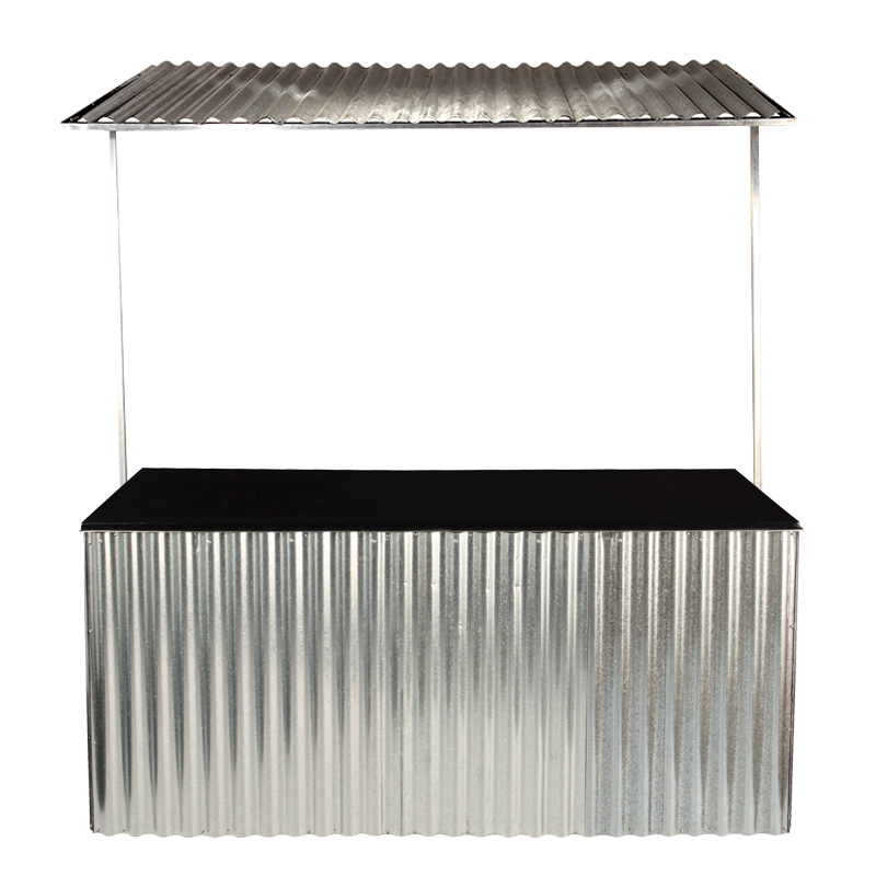 Corrugated Metal Folding Food Station with Metal Canopy