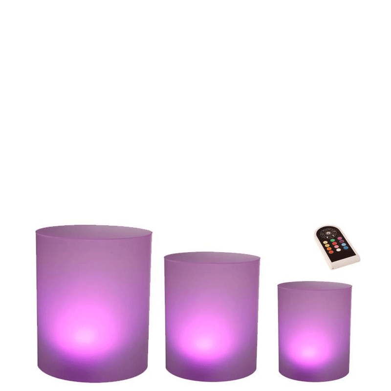 Cylindrical Risers, Frosted Backlit, Set Of 3