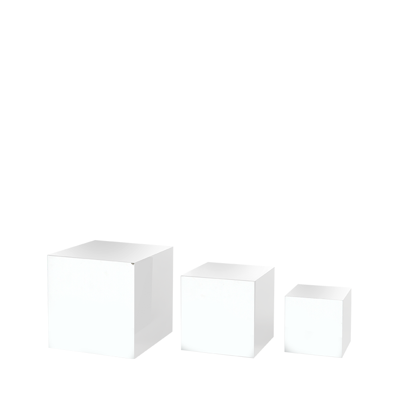 Set Of 3 White Cube Risers