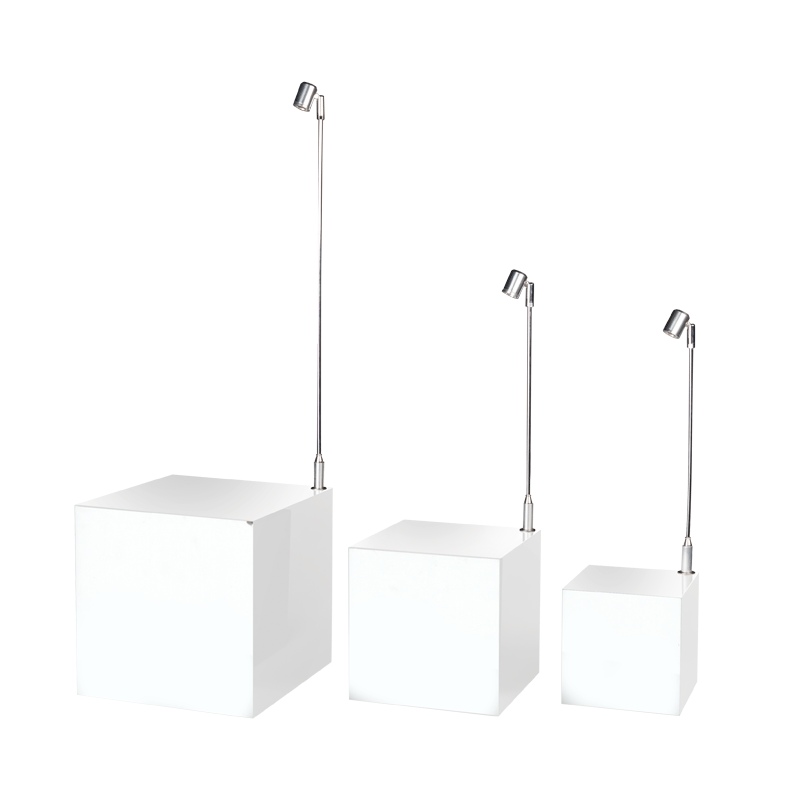 White Cube Risers with Light, Set-Up Of 3