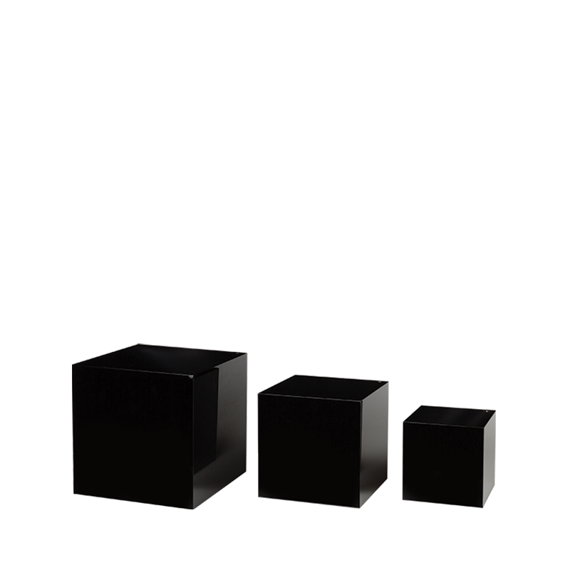 Set Of 3 Black Cube Risers