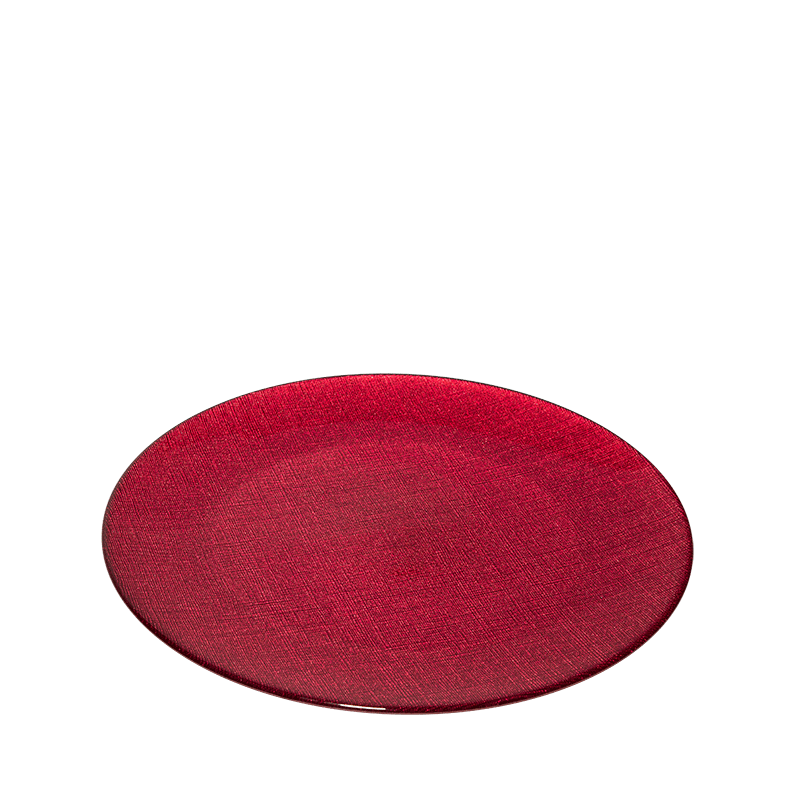 Glass Presentation Plate Red Ø 32 cm