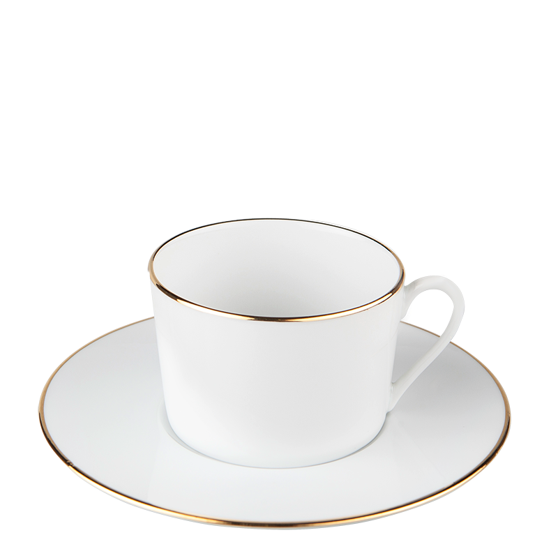 Plane Teacup and Saucer with Gold Thread 22 cl