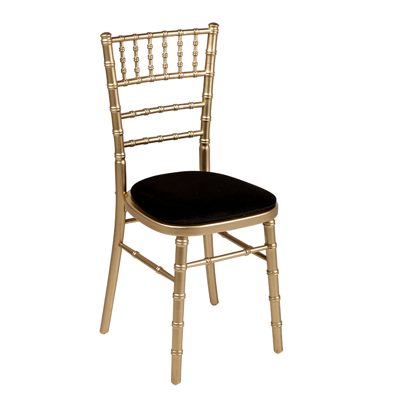 Bamboo Chair in Gold with Black Velvet Seat Pad