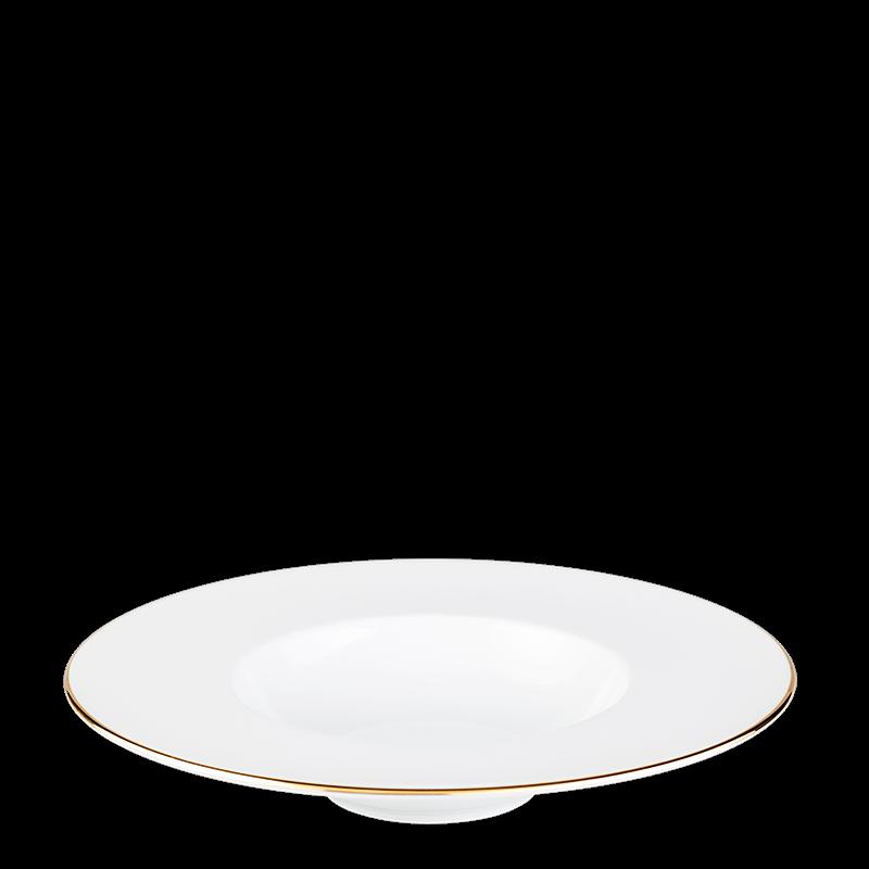 Plane Dessert Plate with Gold Thread Ø 27 cm Container Ø 15 cm