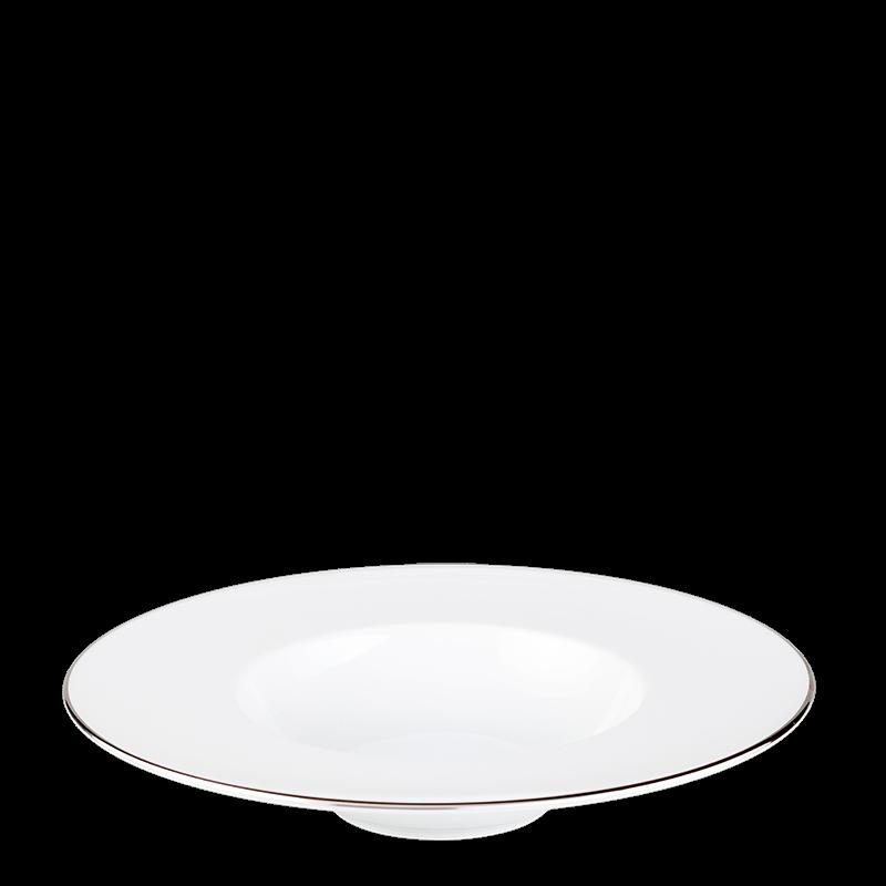 Plane Dessert Plate with Silver Thread Ø 27 cm Container Ø 15 cm