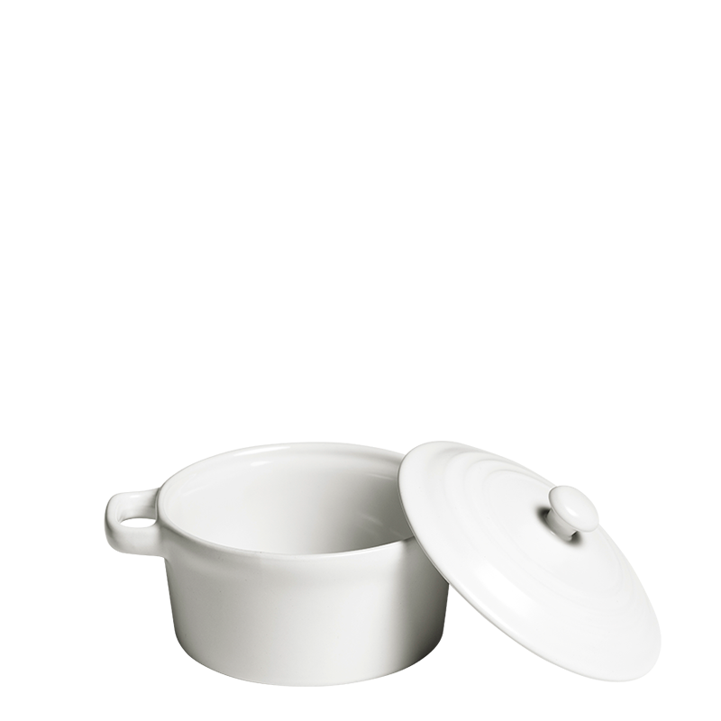 Individual Cooking Pot White and Its Top Ø 10 cm 25 cl