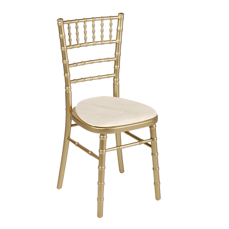 Bamboo Chair in Gold with Ecru Seat Pad