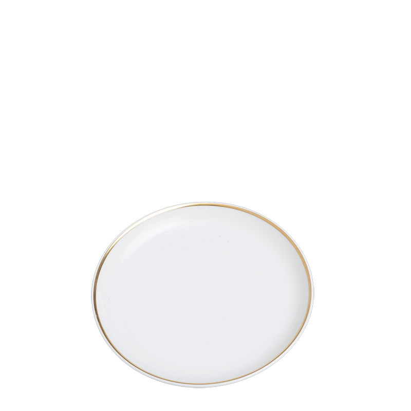 Plane bread plate with gold rim Ø 12 cm