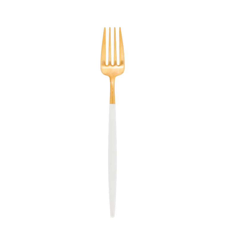 Cutipol white and gold fork