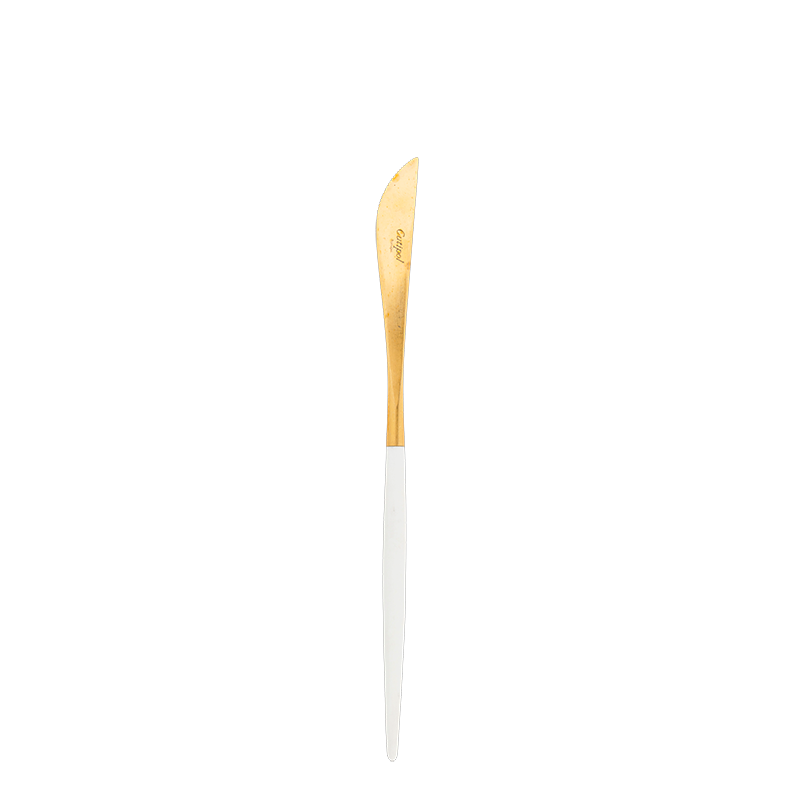 Cutipol white and gold dessert knife